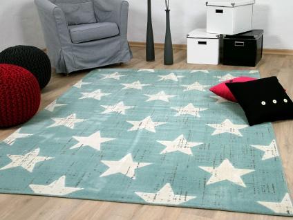 Soft-Touch Velours Designer Teppich Canvas Sterne Mintgrün