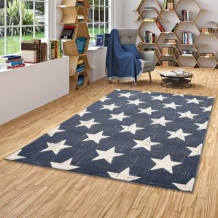 Soft-Touch Velours Designer Teppich Canvas Sterne Blau