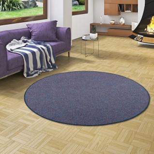 Schlingen Teppich Alma Blau Meliert Rund