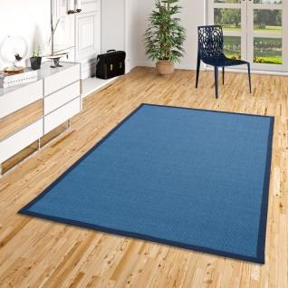 Sisalteppich Natura Blau Bordüre Blau
