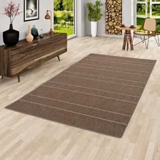 In- und Outdoor Teppich Flachgewebe Carpetto Braun Stripes