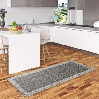Vinyl Teppich Küchenläufer Evora Fliesenoptik Schwarz Grau