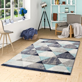 Designer Teppich Maui Modern Rauten Grau Blau