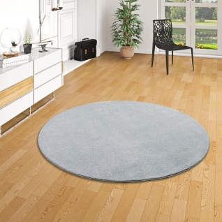 Hochflor Luxus Velours Teppich Touch Grau Rund