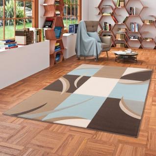 Designer Teppich Passion Modern Karo Blau Braun