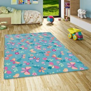 Kinder Spiel Teppich Schmetterling Türkis