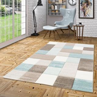 Designer Teppich Maui Pastell Blau Beige Karo