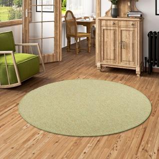Schlingen Teppich Alma Grün Meliert Rund