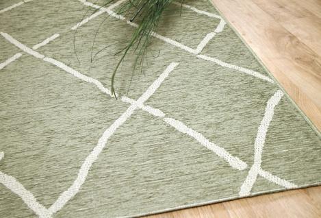 In & Outdoor Chenille Teppich Flachgewebe Scala Grün Beige Karo