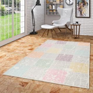 Designer Teppich Pastell Ivy Bunt Karo Vintage