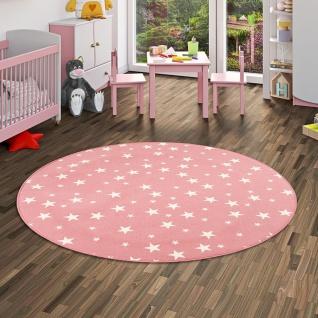 Kinder Spiel Teppich Sterne Rosa Rund