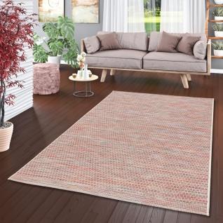 In- und Outdoor Teppich Flachgewebe Carmel Terrakotta Meliert