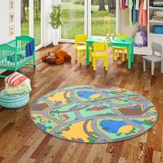 Kinder Spiel Teppich Strassenteppich Grün Rund