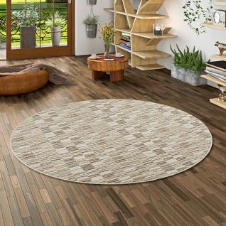 Streifenberber Teppich Modern Stripes Beige Rund