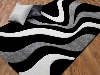Designer Teppich Maui Schwarz Grau Wellen - Vorschau 1