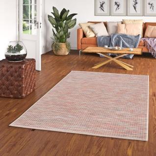 In- und Outdoor Teppich Flachgewebe Carmel Terrakotta Bunt Karo