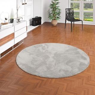 Luxus Hochflor Shaggy Teppich Velvet Grau Rund