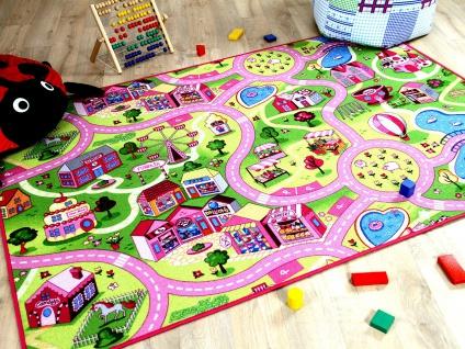 Kinder Spiel Teppich Girls Rosa Village
