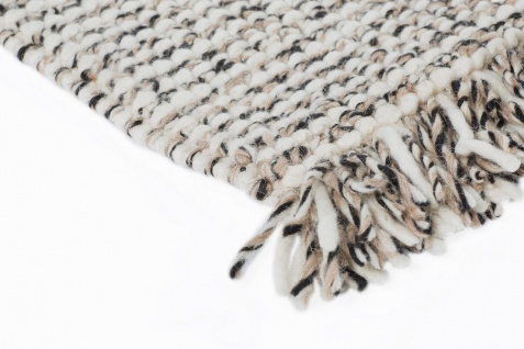 Natur Teppich Wolle Lasse Creme Anthrazit Mix