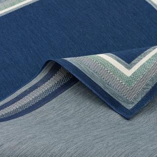 In- und Outdoor Teppich Flachgewebe Carpetto Bordüre Blau - Vorschau 3