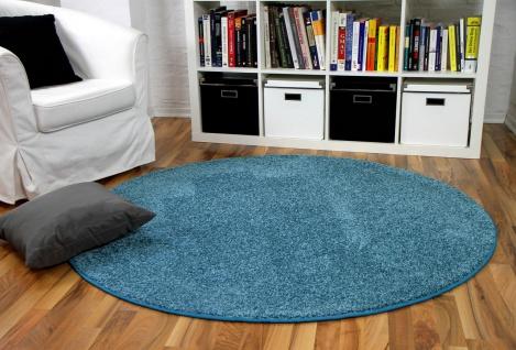 Hochflor Velours Teppich Mona Eisblau Rund