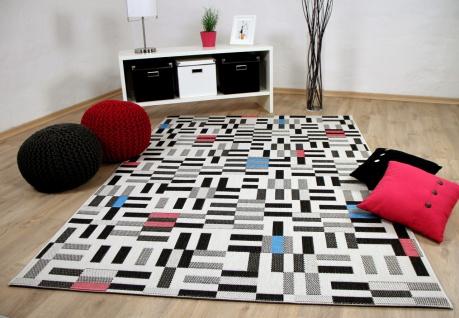 In und outdoor teppich flachgewebe carpetto schwarz weiss pixel
