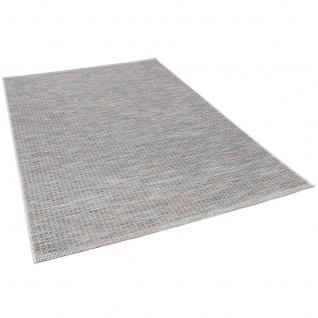 In- und Outdoor Teppich Flachgewebe Carmel Blau Bunt Karo - Vorschau 2
