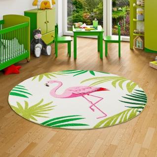 Designer Teppich Faro Tropical Flamingo Pink Creme Rund