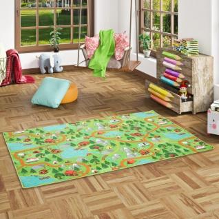 Kinder Spiel Teppich Campingplatz Grün