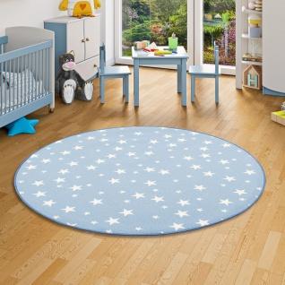 Kinder Spiel Teppich Sterne Blau Rund