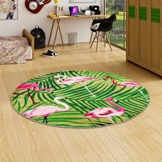 Designer Teppich Faro Tropical Flamingos Grün Rund