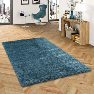 Hochflor Langflor Shaggy Teppich Luxury Ocean Blau
