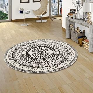 Designer Teppich Sevilla Mandala Schwarz Weiss Rund