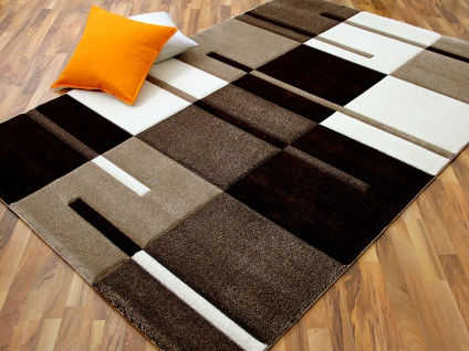 Designer Teppich Maui Beige Karo Streifen