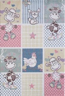 Kinder und Spielteppich Softstar Kids Tiere Patchwork Pastell Bunt