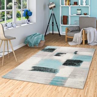 Designer Teppich Tango Karo Grau Blau Verlauf