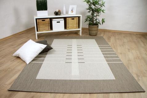 In- und Outdoor Teppich Flachgewebe Carpetto Bordüre Trend Beige
