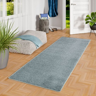 Hochflor Velours Teppich Läufer Mona Blau Grau