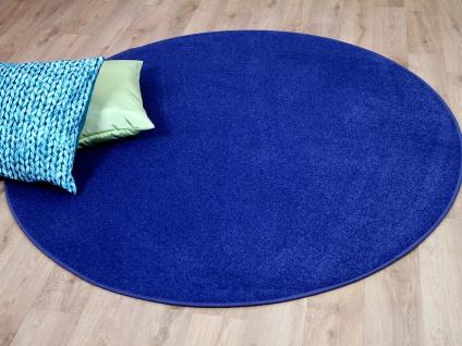 Trend Velours Teppich Joy Blau Rund