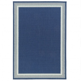 In- und Outdoor Teppich Flachgewebe Carpetto Bordüre Blau - Vorschau 5