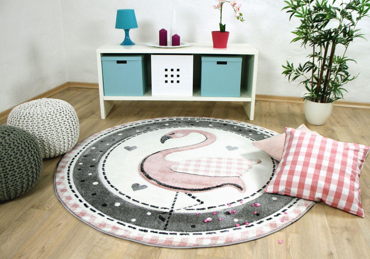 kinder teppich maui kids pastell rosa flamingo rund kaufen bei teppichversand24. Black Bedroom Furniture Sets. Home Design Ideas