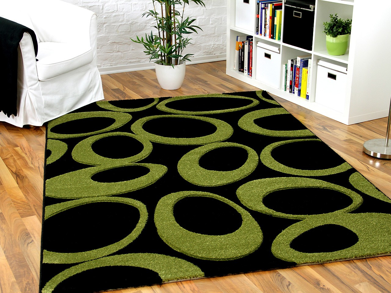 Toll Designer Teppich Maui Schwarz Grün Curley 1 ...