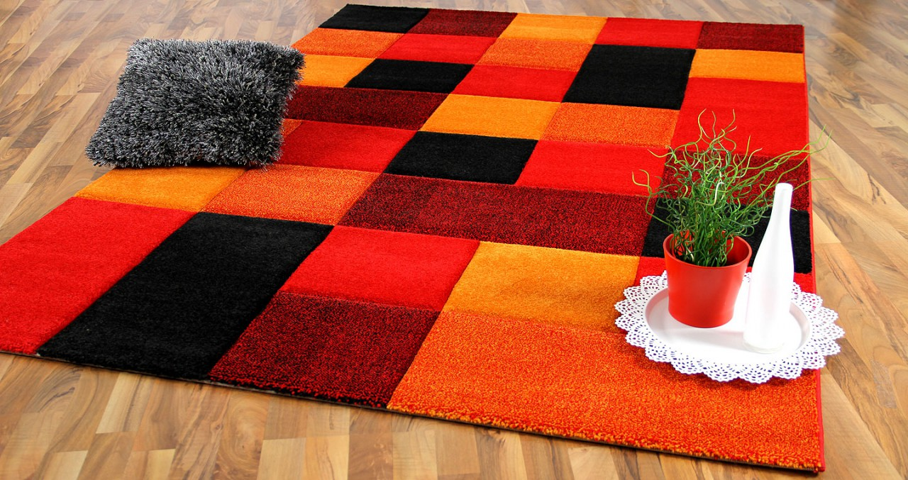 Designer Teppich Brilliant Rot Orange Karo Kaufen Bei Teppichversand24