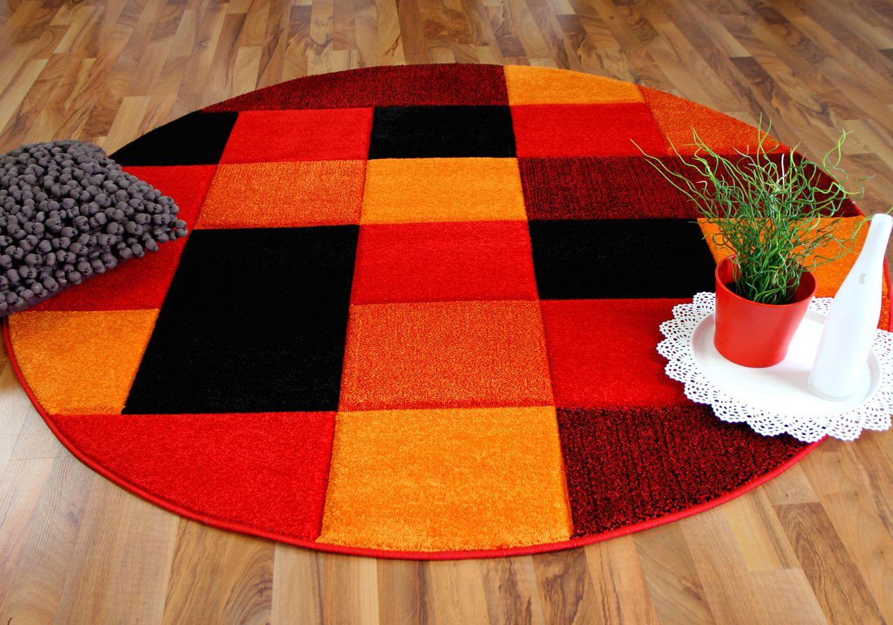 Designer Teppich Brilliant Rot Orange Karo Rund Kaufen Bei