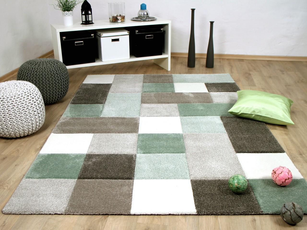 Designer teppich maui pastell grün beige karo kaufen bei