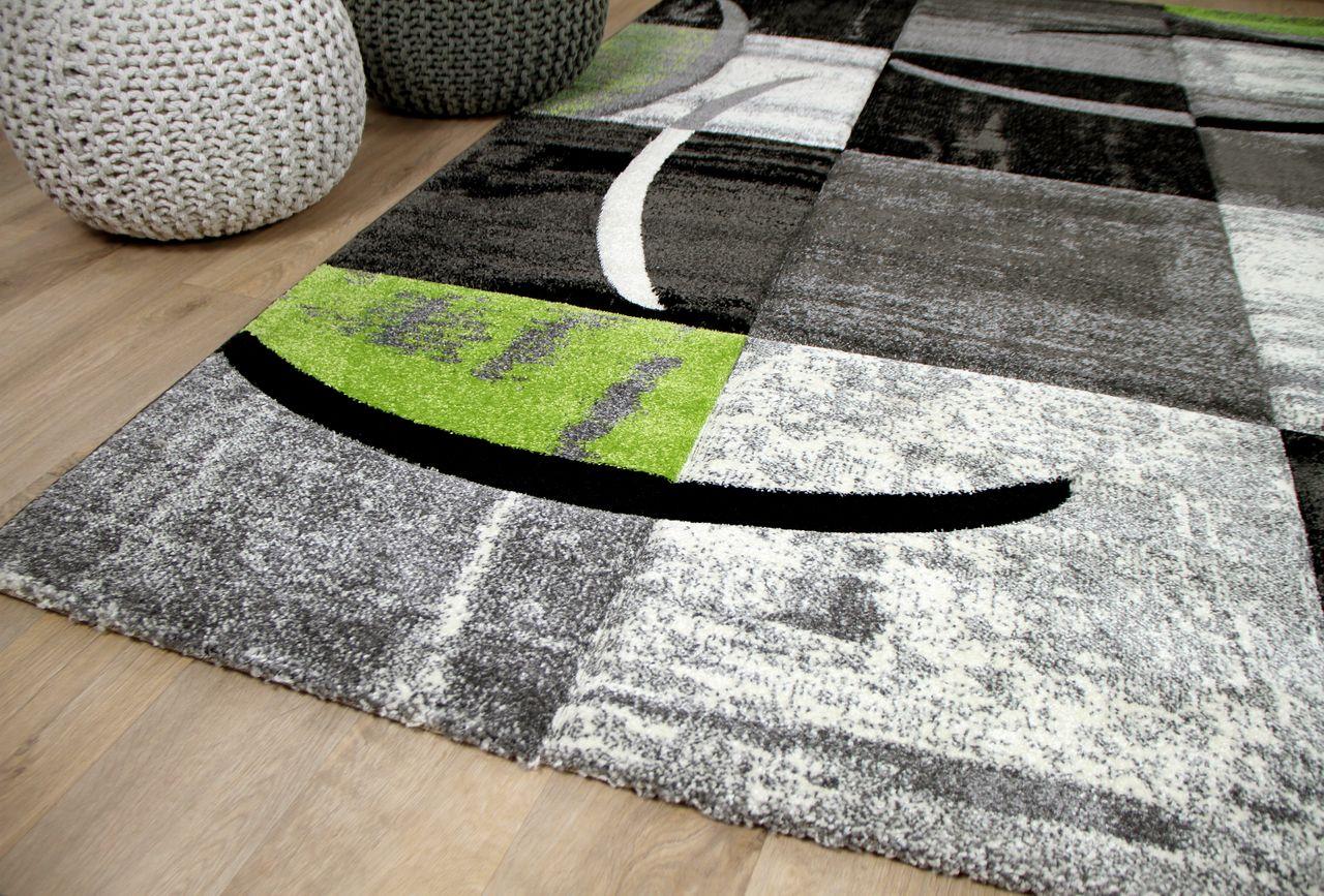 designer teppich brilliant karo grau gr n trend kaufen. Black Bedroom Furniture Sets. Home Design Ideas