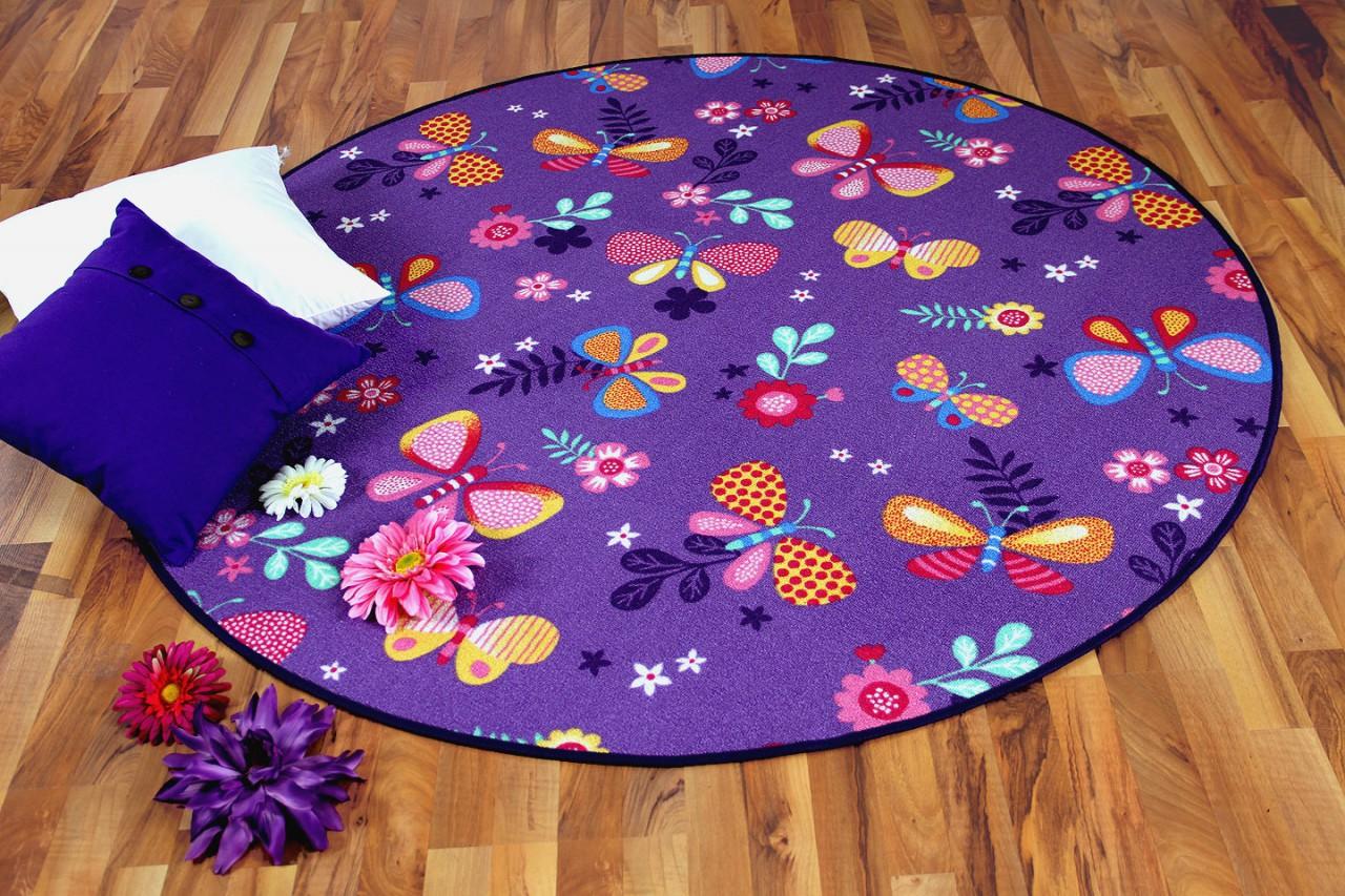 Kinder Spiel Teppich Schmetterling Lila Rund Kaufen Bei
