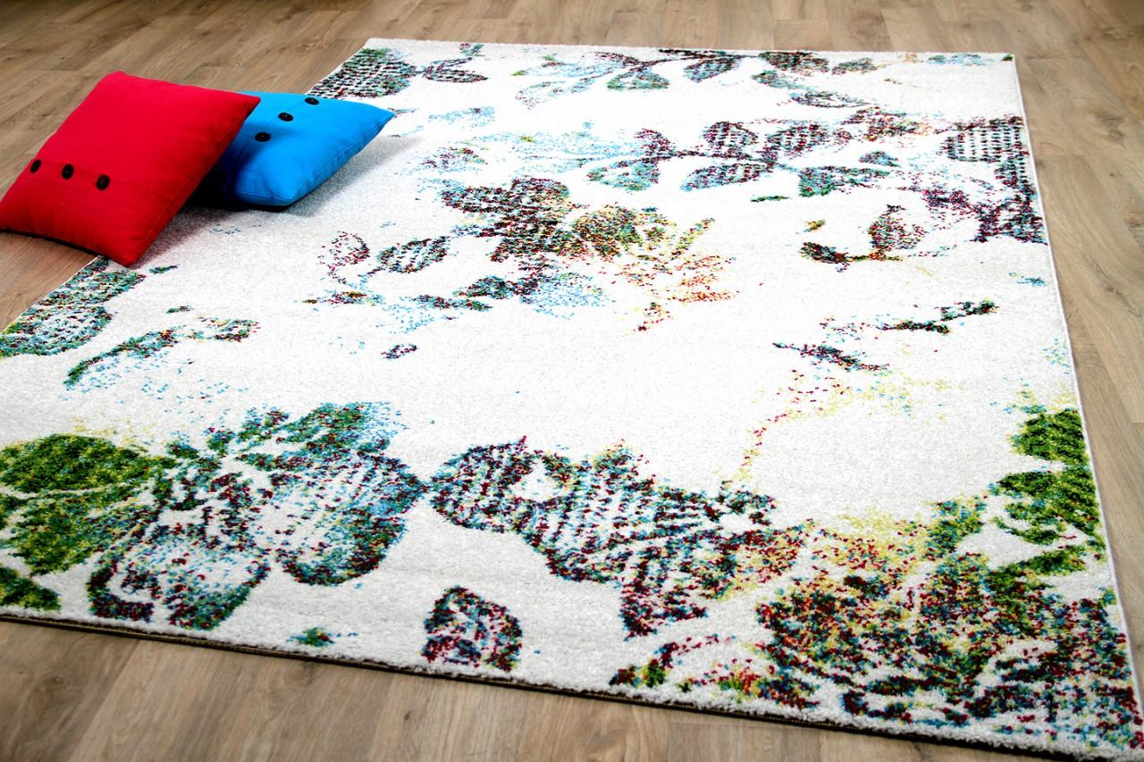 designer teppich funky blumen modern creme bunt kaufen bei teppichversand24. Black Bedroom Furniture Sets. Home Design Ideas