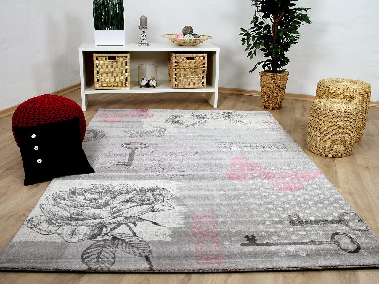 Designer Teppich Sevilla Klassik Grau Rosa Schmetterling Kaufen