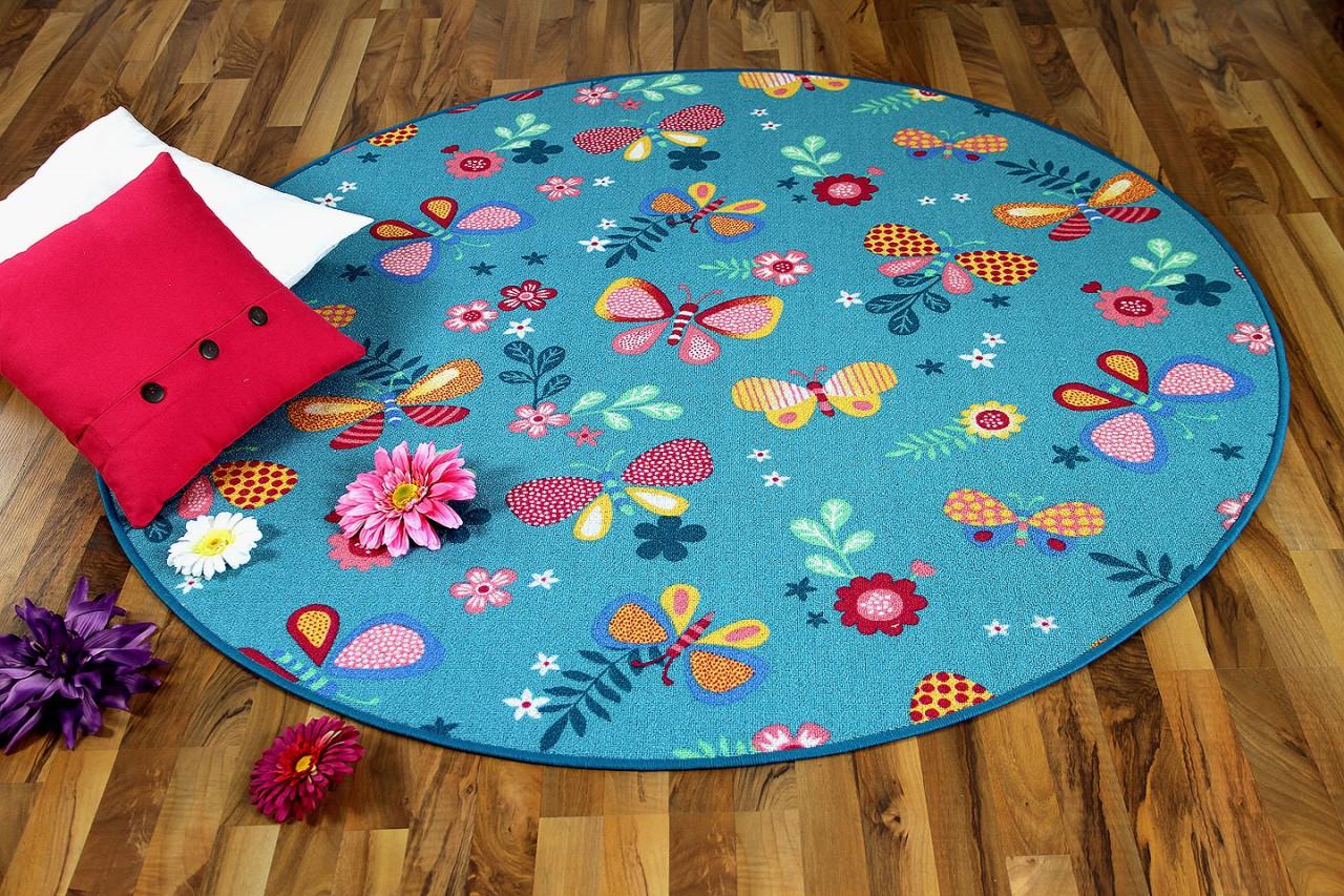teppich kinder rund, kinder spiel teppich schmetterling türkis rund - kaufen bei, Design ideen